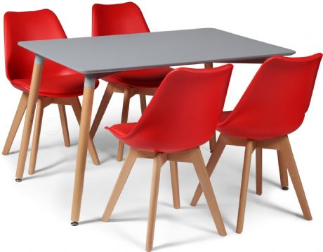 Toulouse Tulip Eiffel Designer Dining Set Grey Rectangular Table & 4 Red Chairs Sale Now On Your Price Furniture
